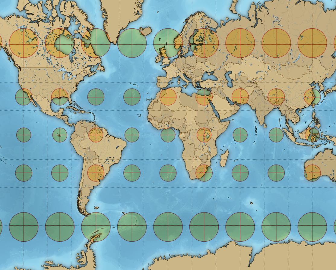 Qgis ieqgis mercator projection the area of the circles and size of the crosses increase towards the poles but their shape remains the same gumiabroncs Images